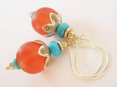 Blue Turquoise and Red Resin Earrings Hill Tribe by MagnoliaStudio, $36.00