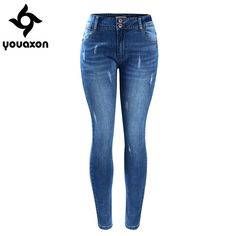 2052 Youaxon Women`s Basic Chic Style Fading Stretch Skinny Ture Denim Jeans Woman Pantalon Femme Free Jeans Skinny, Moda Jeans, Denim Skinny Jeans, Skinny Waist, Jeans Pants, Faded Black Jeans, Pants For Women, Clothes For Women, Shoes With Jeans