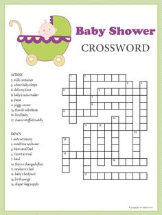 Baby Shower Crossword - Puzzles to Print