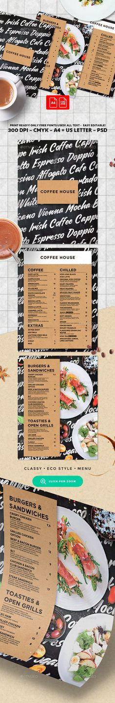 Coffee Menu by BigWeek Coffee Menu Template Size: with 3 mm bleed and US Letter with bleedMode: CMYK Files included: 8 PSD Ed Food Menu Template, Restaurant Menu Template, Restaurant Menu Design, Menu Templates, Print Templates, Resturant Branding, Steak Menu, French Coffee, Italian Coffee