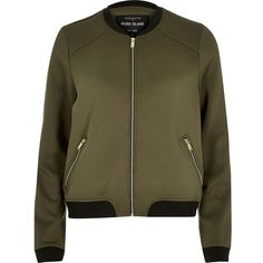 River Island Khaki bomber jacket (105 CAD) ❤ liked on Polyvore featuring outerwear, jackets, bomber jackets, coats / jackets, khaki, women, tall jackets, zipper jacket, river island jacket and bomber jacket