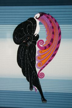 Deco Lady with Plumed Head Dress - by Erté aka Romain de Tirtoff (Russian, 1892-1990) - Print - LiveAuctioneers - @~ Mlle