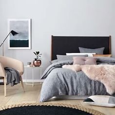 grey master bedroom soft pink - Google Search