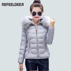 28.73$  Watch here - http://aligsq.shopchina.info/go.php?t=32463502502 - Refeeldeer Winter Parka Women 2017 Thick Warm Hooded Women's Winter Jacket And Coat Female Outwear Lady Pink Black Gray Blue  #buychinaproducts