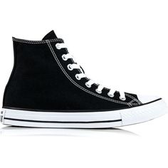 Converse Chuck Taylor All Star Hi Top Trainers found on Polyvore featuring shoes, sneakers, black, converse shoes, black high top shoes, black hi tops, black shoes and black hi top sneakers