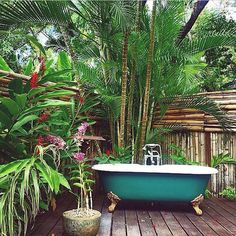 love the lush bamboo and surroundings for the tub in outdoor space. I could deal with this for the outdoor tub we have.