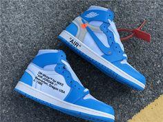 390745f33edbdd Off-White x Air Jordan 1 UNC Powder Blue AQ0818-148 Jordan 1 Blue