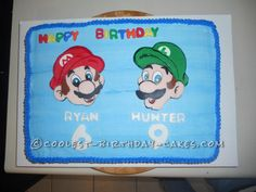 Colorful Mario And Luigi Cake For Two Brothers... This website is the Pinterest of birthday cake ideas