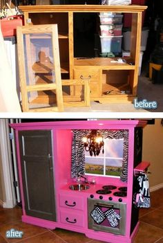 Finally a wonderful transformation for outdated entertainment center armoires; a complete kiddie kitchen complete with door.  Stove, window, kitchen door and storage.  Perfect for playroom, painted pink.  Recycle, upcycle, repurpose, salvage, diy!  For ideas and goods shop at Estate ReSale & ReDesign, Bonita Springs, FL