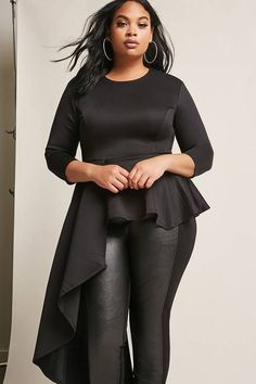 $35 FOREVER 21+ Plus Size Asymmetrical Peplum Top #plussize #fashionaddict #trends #fashion #trendsetter #affilatelink