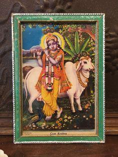 Krishna Playing the Flute Antique Indian Devotional Art Print