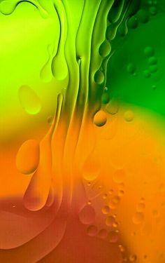 Orange, yellow and green