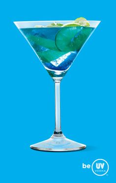 UV Vodka: Great Raspberry Flute ~   2 parts UV Blue  1 part triple sec  1 splash of lime juice    Shake with ice and strain into a martini glass.