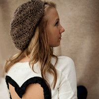 Handmade Slouch Hat  Boyfriend Beanie designed for Spring fashion. Gorgeous Taupe