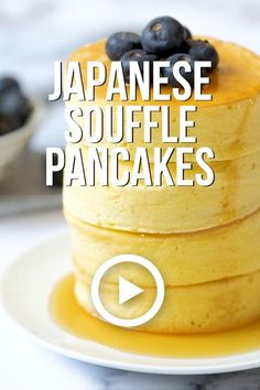 Japanese Souffle Pancakes by Kirbie's Cravings. These Pancakes are incredibly light and fluffy. They are a popular trend in Japan, but you can recreate this easy recipe in your own home. Pin made by g Fun Baking Recipes, Brunch Recipes, Sweet Recipes, Dessert Recipes, Oven Recipes, Easy Recipes, Tasty Videos, Food Videos, Recipe Videos