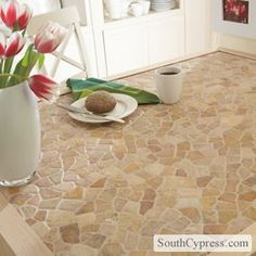 Sandstone Mosaic Tile table top or counter top - Pebble Tile