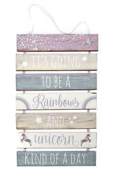 3 Tier Hanging Wooden Unicorn Plaque Sign ~ Life Is All Rainbows And Unicorns
