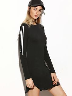 Online shopping for Black Striped Sleeve Curved Hem Bodycon Dress from a great selection of women's fashion clothing & more at MakeMeChic.COM.