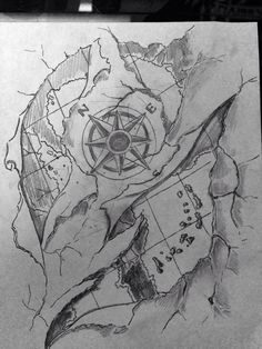 Treasure Map And Compass Tattoos Sketch photo - 1