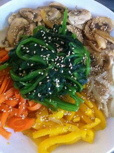 Japchae, sweet potato starch noodles with lots of veggies