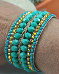 Tangerine & Turquoise Beaded Leather Cuff Bracelet by TNine Design