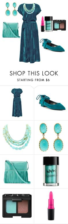 """Blue Hue"" by jfcheney ❤ liked on Polyvore featuring Lattori, GUESS, Cellino, ILI, NYX, NARS Cosmetics and MAC Cosmetics"