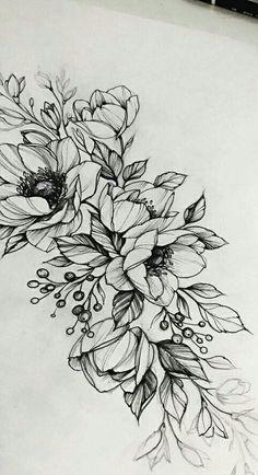 29 ideas for flowers tattoo designs Neue Tattoos, Body Art Tattoos, Tattoo Drawings, Small Tattoos, Sleeve Tattoos, Flower Drawings, Drawing Flowers, Flower Design Drawing, Tatoos