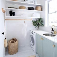The Little-Known Secrets to Laundry Room Design Ideas There are lots of design ideas in the post basement laundry room which you are able to find, you will see ideas in the gallery. Therefore, if you're searching for design suggestions… Continue Reading → Laundry Room Cabinets, Laundry Room Organization, Laundry In Bathroom, Basement Laundry, Blue Cabinets, Small Laundry, Diy Cupboards, Basket Organization, Upper Cabinets