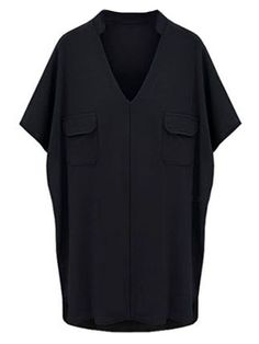 Women Short Sleeve V-neck Pocket Split Irregular T-shirt