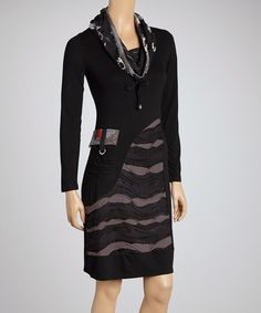 Take a look at this Black & Gray Cowl Neck Dress by Fantazia & Romance on @zulily today!