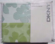 New Dkny Sage Whimsy Floral Queen Duvet Set 3 Pc Green