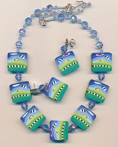 Necklace and earring set made with very cool polymer by RLNjewelry