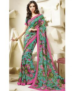 Firozi and Pink Color Georgette Printed Sarees : Sabrina Collection YF-21349