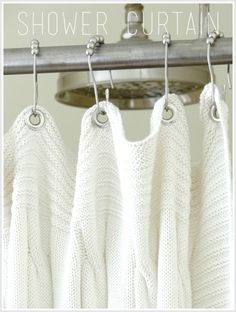 A shower curtain DIY made from an Ikea Throw blanket. Love the look. It gives me an idea.. I have a lot of old crochet table cloth my grandma made years ago. I'll try using one of them as s shower curtain.