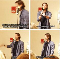[SET OF GIFS] Jared talking about fake-throwing matches #ChiCon2013