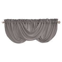 Add stylish appeal to your living room or den with this lovely valance, showcasing a draped motif and gray hue.    Product: Val...