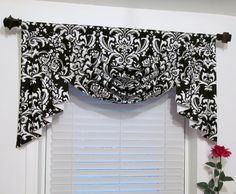 Swag and Jabots Classic Window Treatments Black & White Damask Handmade in the USA- Jessica Conlan- Windows, Window Decor, White Damask, Bathroom Windows, Swag Ideas, Curtains, Classic Window, Black Window Treatments, Valance Window Treatments