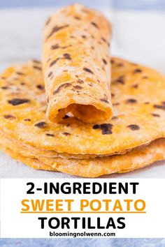 Vegan Sweet Potato Tortillas made with only 2 ingredients. Easy to make, healthy, soft, delicious and perfect for wraps, tacos and burritos. Sweet Potato Biscuits, Crispy Sweet Potato, Sweet Potato Muffins, Sweet Potato Gnocchi, Sweet Potato Curry, Sweet Potato Wedges, Sweet Potato Recipes, Vegan Sweet Potato Bread Recipe, Sweet Potato Wrap