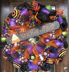 Deco Mesh TRICK or TREAT HALLOWEEN Wreath by decoglitz on Etsy