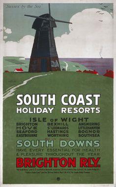 'South Coast Holiday Resorts', London, Brighton South Coast Railway (LBSCR) poster. Artwork by R G Praill (1915)