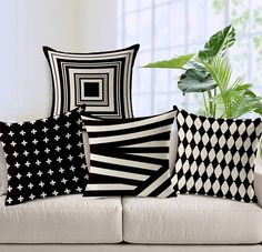 decorative pillows 573505333798883328 - WOMHOPE 4 Pcs – Vintage Style Cotton Linen Square Throw Pillow Case Decorative Cushion Cover Pillowcase Cushion Case for Sofa,Bed,Chair,Auto Seat Source by olivvroomvroom Modern Cushions, Geometric Cushions, Luxury Cushions, Decorative Cushions, Decorative Pillow Covers, Green Cushions, Vintage Sofa, Vintage Modern, Vintage Style