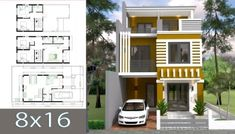 Home Design Plan with 3 Bedrooms. This villa is modeling by SAM-ARCHITECT With 2 stories level. It's has 3 bedrooms. Simple Home Design description: Ground floor: -One Car Park -L… Small Modern House Plans, Modern Small House Design, Small House Floor Plans, Simple House Design, Minimalist House Design, Dream House Plans, House Arch Design, Duplex House Design, 30x40 House Plans