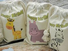 Personalized Muslin Bags Happy Birthday Zoo by CharleysCache