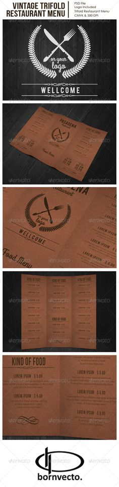 Vintage Trifold Restaurant Menu — Photoshop PSD #simple #Bornvecto • Available here → https://graphicriver.net/item/vintage-trifold-restaurant-menu/7294538?ref=pxcr