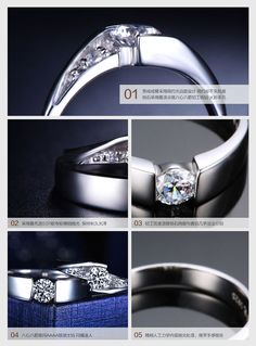 Cubic Zirconia His and Her Matching Promise Rings for Couples in Sterling Silver