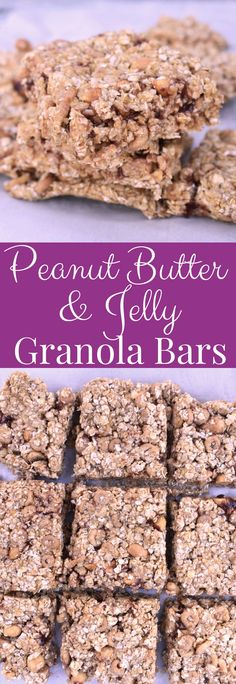 Peanut Butter and Jelly Granola Bars are no-bake, are very easy to make and are packed with protein and fiber for a healthier snack that the whole family will love! www.nutritionistreviews.com #peanutbutter #granolabar #healthy #cleaneating #snack #protein #collagen Healthy Cookie Recipes, Peanut Butter Recipes, Easy Appetizer Recipes, Healthy Cookies, Healthy Appetizers, Sugar Free Pancakes, Banana Granola, Granola Bars Peanut Butter, Filling Snacks