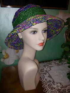 Cappello uncinetto estivo in rafia vegetale 100% (multicolor)