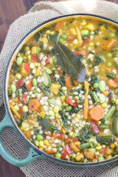 Easy garden veggie barley soup that's ready in only 30 minutes and loaded with vegetables! This quick and healthy soup will be one of your new family favorites! Vegetarian, dairy-free, and gluten-free.
