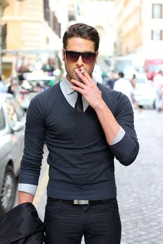 I could do without the smoking, but he looks hot in this pullover sweater, shirt and tie! Men's fashion