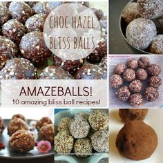 Amaze Balls! Ten amazing bliss ball recipes. Delicious and nutrient dense. Bliss balls are a great alternative to lollies!